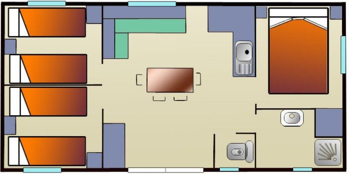 plattegrond mobile home confort